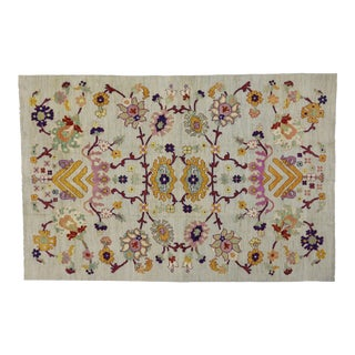 Colorful Turkish Oushak Rug With Modern Contemporary Style For Sale