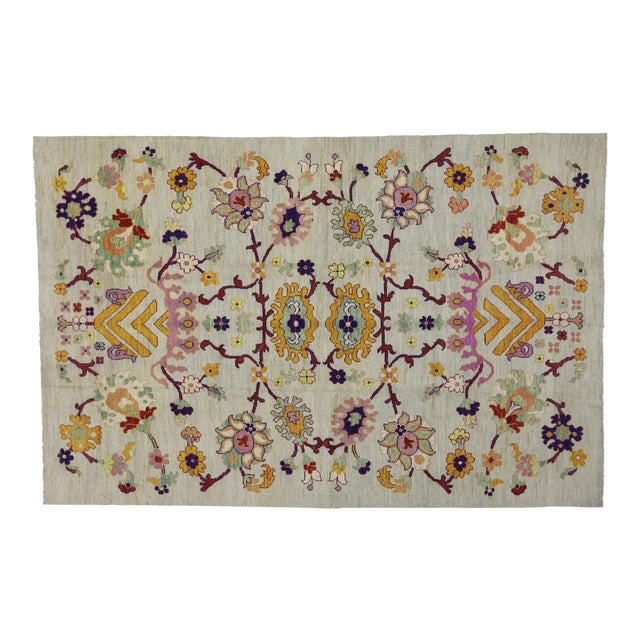 Contemporary Colorful Turkish Oushak Rug - 10'04 X 15'08 For Sale