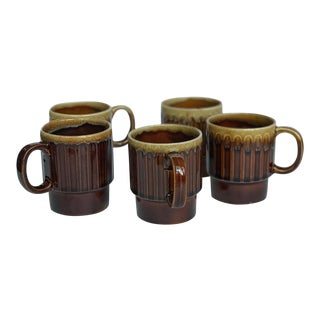 Vintage Ceramic Brown Drip Coffee Cups - Set of 5 For Sale