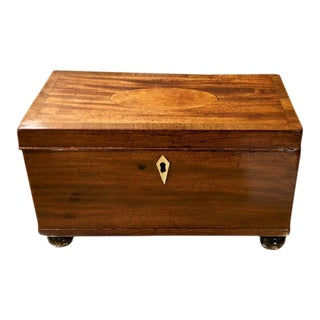 Antique Early 19th C Regency Style Mahogany Tea Caddy Box For Sale