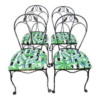 Wrought Iron Garden Chairs - Set of 4 For Sale