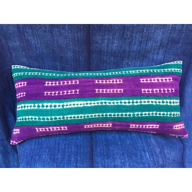 Purle and Teal African Mud Cloth Pillow - Image 7 of 8