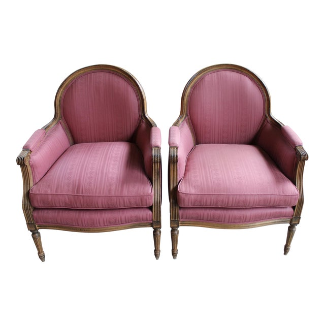 Vintage French Louis XVI Style Bergeres - Pair - Image 1 of 8