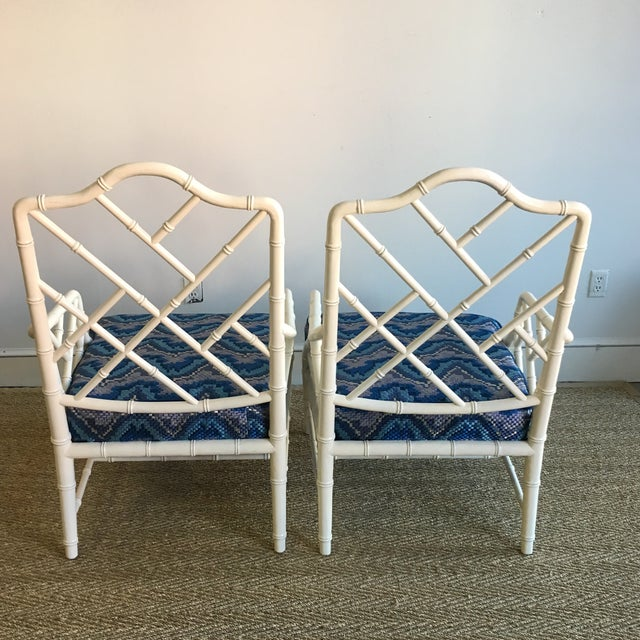 Vintage White Faux Bamboo Club Chairs - A Pair - Image 5 of 7