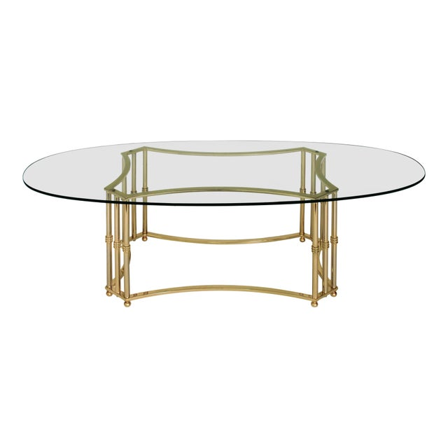 Boho Chic Oval Brass & Glass Coffee Table For Sale - Image 3 of 8