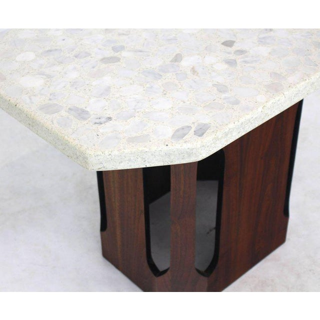 Wood Oiled Walnut Base Terrazzo Top Side Table For Sale - Image 7 of 10