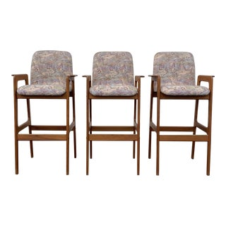 Mid Century Modern Danish Bar Stools by Benny Linden - Set of 3 For Sale