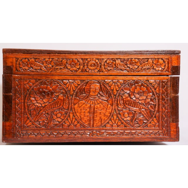 Large Early 19th Century Antique Hand Carved Wooden Decorative Box For Sale In Los Angeles - Image 6 of 13