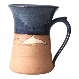 Vintage Studio Pottery Mug With Dolphin Design For Sale