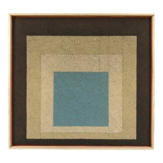 Mid-Century Modern Geometric Needlepoint Framed Wall Art For Sale