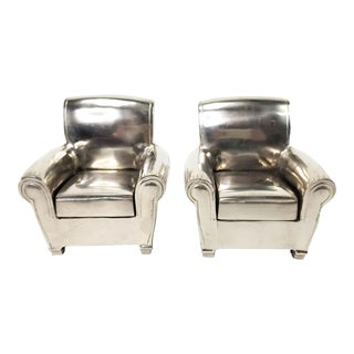 Vintage Silver Finish Cast Metal Lounge Chair Bookends - a Pair For Sale
