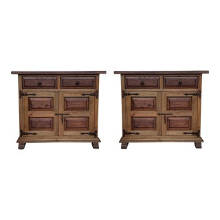 19th Century Catalan Carved Oak Tuscan Two Drawers Credenza or Buffet - a Pair For Sale