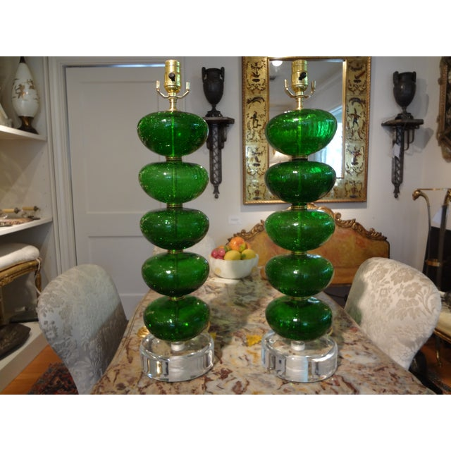 Murano Mid-Century Glass Table Lamps - A Pair - Image 2 of 6