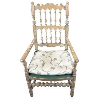 French Country Whitewashed-Distressed Armchair with Cushion by William Switzer