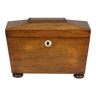 Regency Mahogany Sarcophagus Form Tea Caddie For Sale