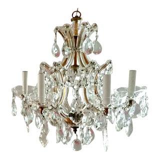 Vintage Hollywood Regency Gilt Cut Crystal Chandelier Maria Theresa For Sale