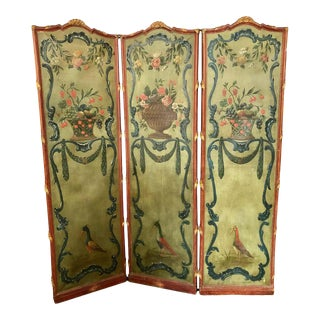 Rococo Style Screen Room Divider Carved and Painted Parcel Gilt Painted Canvas For Sale