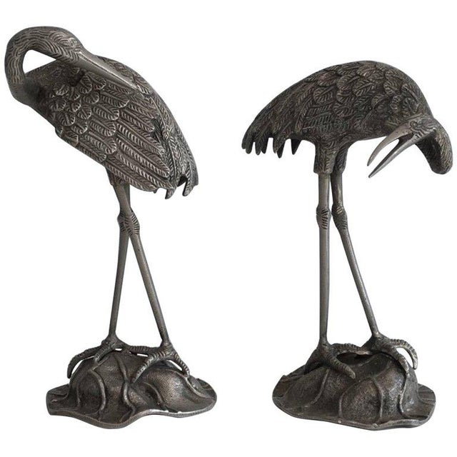 Pair of Silvered Bronze Stork Statues, Attributed to Maison Baguès For Sale - Image 11 of 11