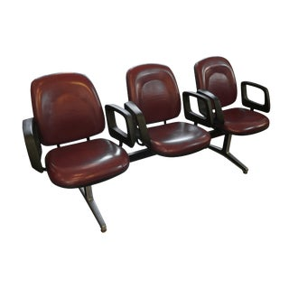 Modern Red Vinyl 3 Seat Commercial Seating Unit