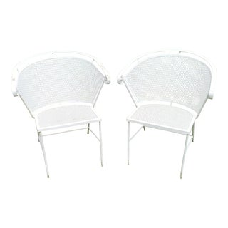 Vintage Woodard Barrel Back Mesh Wrought Iron Patio Chairs - a Pair