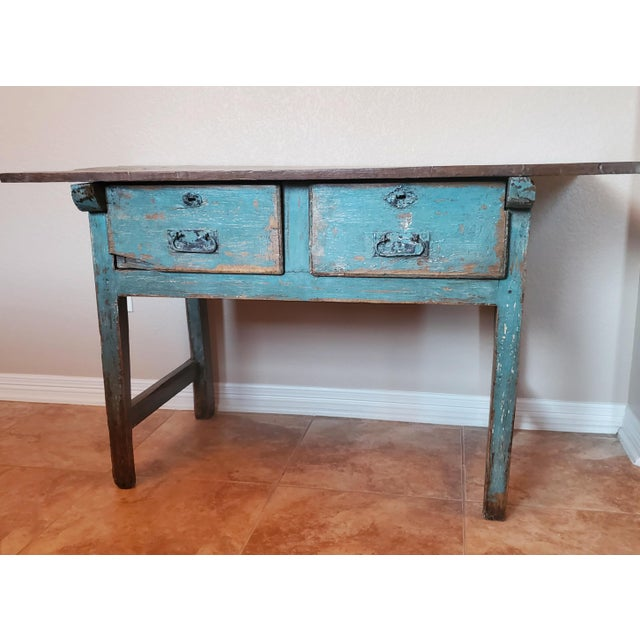 Rustic European Rustic 19th Centuy Spanish Distressed Painted Table For Sale - Image 3 of 13