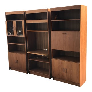 1980s Vintage Danish Modern Teak Wall Unit - 3 Pieces For Sale