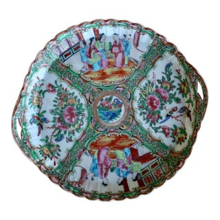 Rose Medallion Tray With Handles For Sale