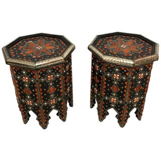 Moroccan Ebonized Wood and Brass Inlaid Side Tables - a Pair For Sale