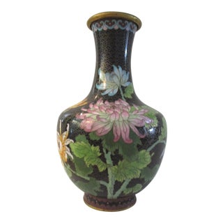 1980s Chinese Chrysanthemum & Butterfly Cloisonné Vase For Sale