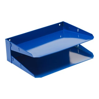 Mid Century In-N-Out Mail Tray Refinished in Royal Blue For Sale
