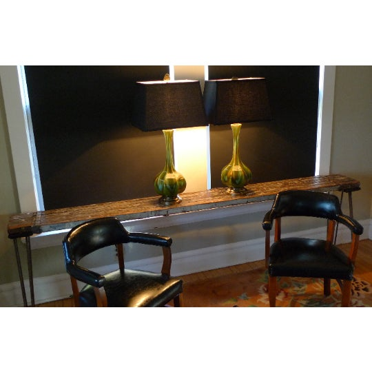 1940s Sofa Table, Console, Entryway Table From Industrial Painter's Scaffold on Steel Hairpin Legs For Sale - Image 5 of 11