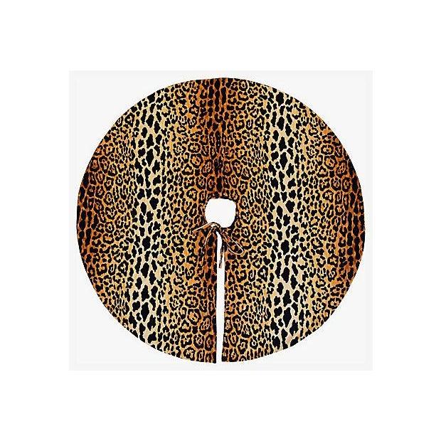 """Only One Left!!! Custom Tailored X-Large 55"""" Leopard Spot Velvety Christmas Tree Skirt - Image 3 of 9"""