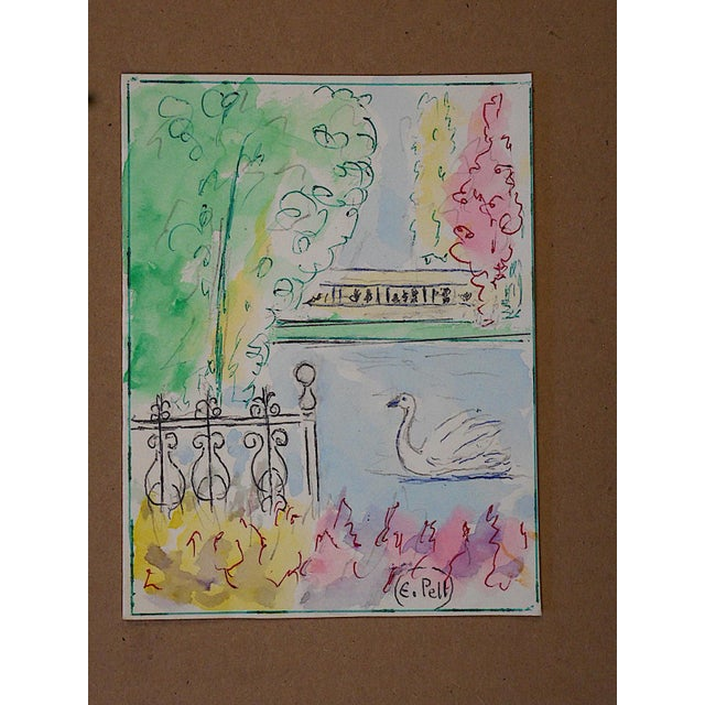 This captivating original watercolor by listed Italian-American artist, Ettore Pellegatta (Italy/USA 1881-1966) depicts...