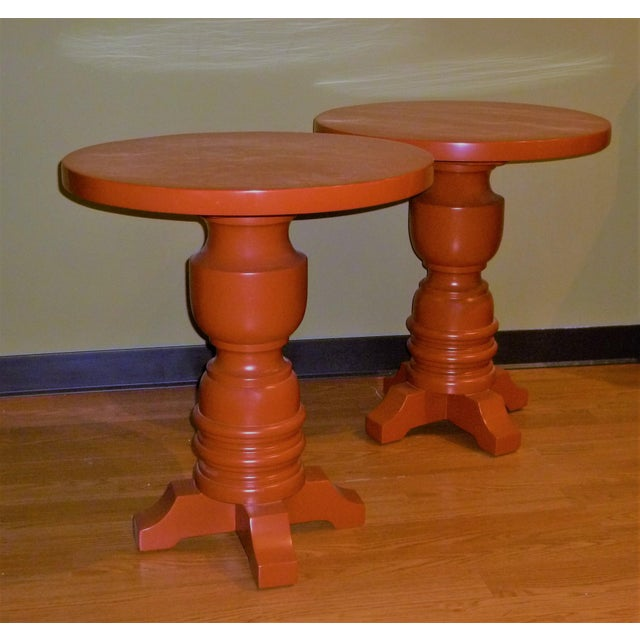 Pair of Architectural Mid-Century Modern Orange Lacquered Side Tables, 1960s For Sale - Image 11 of 11