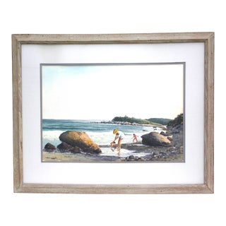 Charles B. Ferguson Signed Watercolor Figures at Fishers Island For Sale
