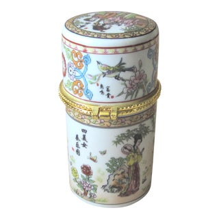 Chinese Porcelian Hinged Box For Sale