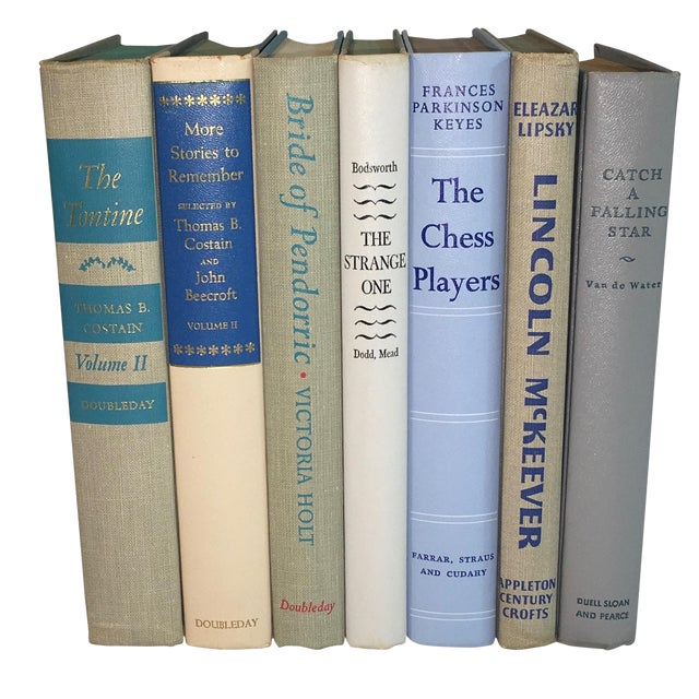 Mid-Century Neutral Blue Books - Set of 7 - Image 1 of 3