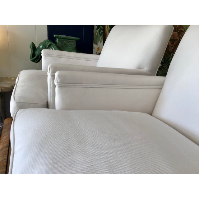 Wood French 1940's Louis XVI Club Chairs in New Sunbrella Upholstery- a Pair For Sale - Image 7 of 11