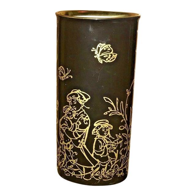"""Edna Hibel Rosenthal """"Festival Annual"""" Golden Vase For Sale"""