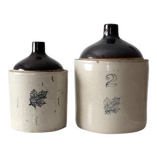 Antique Western Stoneware Jugs - A Pair