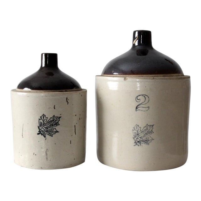 Antique Western Stoneware Jugs - A Pair For Sale