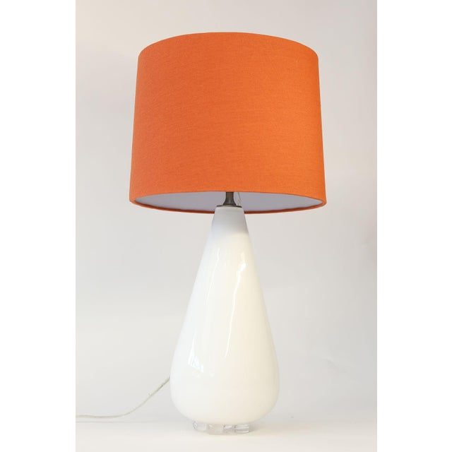 White Glass Table Lamp For Sale - Image 9 of 10