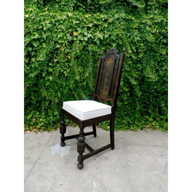 Vintage Spanish Style Cane Back Chair For Sale - Image 4 of 8
