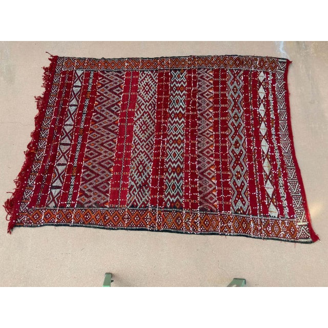 Red Moroccan Vintage Ethnic Textile with Sequins North Africa, Handira For Sale - Image 8 of 13