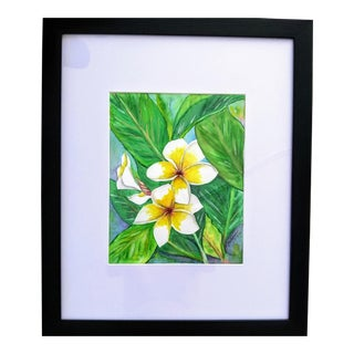 """""""Hawaii Plumeria Flower"""" Contemporary Botanical Watercolor Painting, Framed For Sale"""