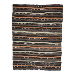 Vintage Striped Goat Hair Kilim Rug For Sale