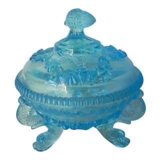Depression Glass Covered Candy Dish For Sale