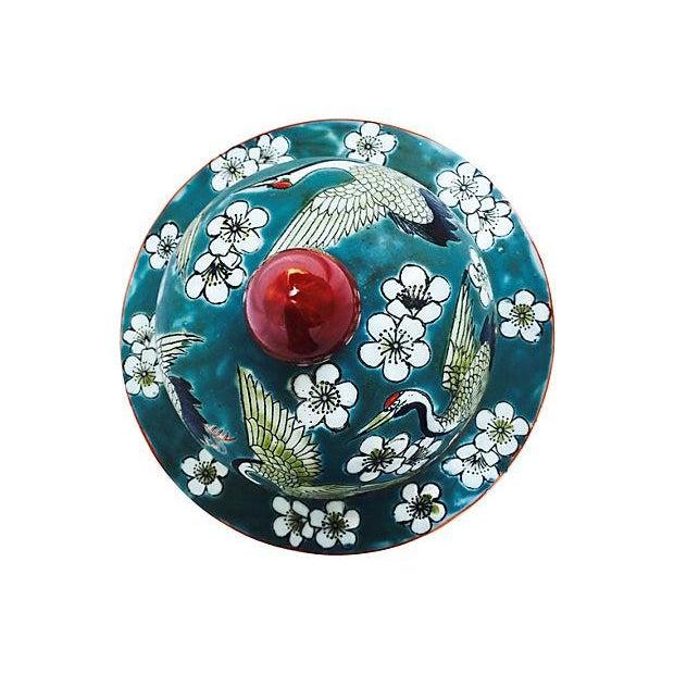 Blue Oriental Crane & Flower Jar - Image 4 of 5