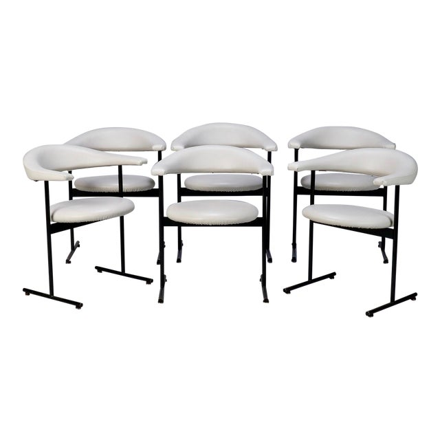 Mid-Century Streamlined Arm Chairs with Black Metal Frames- Set of 6 For Sale