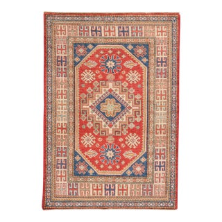 """Indian Hand-Knotted Kazak Rug - 4' X 5'9"""""""